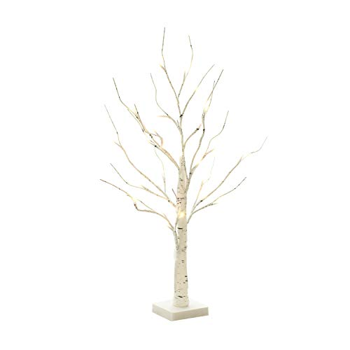 EAMBRITE 2FT 24LT Warm White LED Battery Operated Birch Tree Light Tabletop Tree Light Jewelry Holder Decor for Home Party Wedding (Easter Tree)