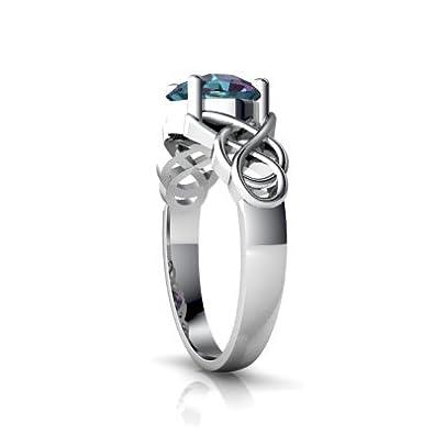Amazon.com: 14 kt oro Lab Alexandrite 6 mm cojín anillo nudo ...