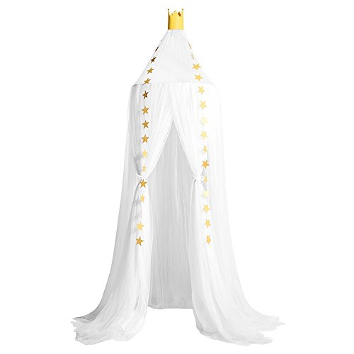 Didihou Mosquito Net Bed Canopy Yarn Play Tent Bedding for Kids Playing Reading with Children Round Lace Dome Netting Curtains Baby Boys and Girls Games House (White) -