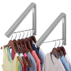 mDesign Juego de 2 colgadores de ropa abatibles para tendedero – Escuadra metálica para prendas que se envían a la tintorería – Perchero de pared ...
