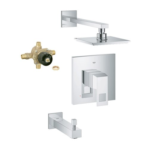 Grohe K35027-35015R-000-2 Eurocube Shower Tub Combination with Rough-In, Chrome,,, Starlight Chrome ()
