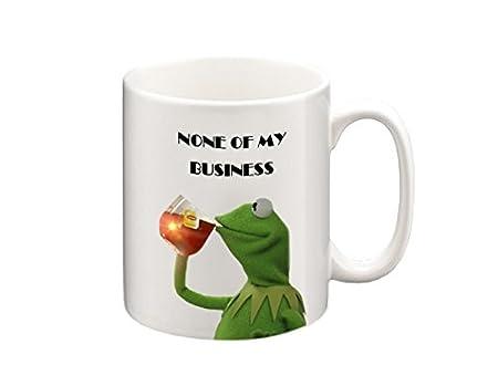 31UGc8WmWvL._SX450_ kermit none of my business text meme mug, funny mugs, coffee mug