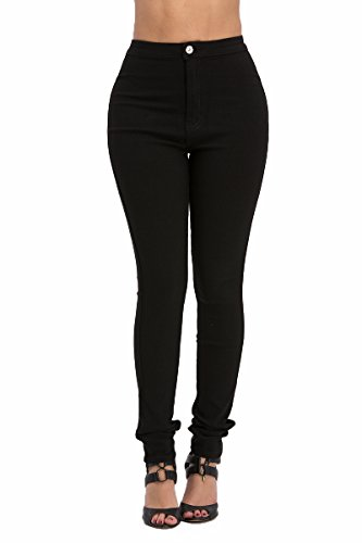 LOVER BRAND FASHION High Rise-Waisted ladies women Multi-Color stretch skinny Jeans Pants, Black, Small