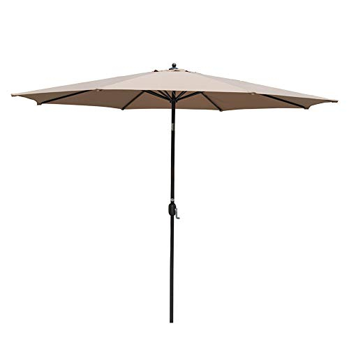 Sundale Outdoor 11 ft Aluminum Patio Umbrella Table Market Umbrella with Crank and Push Button Tilt for Garden, Deck, Backyard, Pool, 8 Steel Ribs, Polyester Canopy