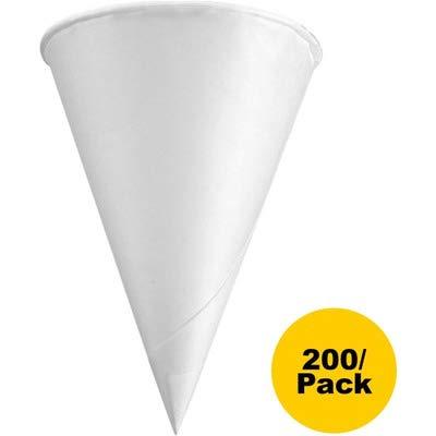 Konie 45KR Rolled Rim Paper Cone Cups, 4.5oz, White, 200 per Bag (Case of 25 Bags)