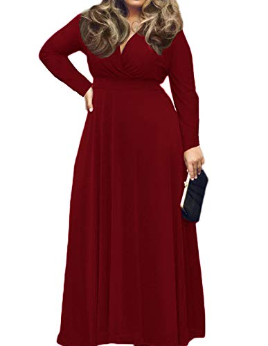 POSESHE Women's Plus Size Solid V-Neck Long Sleeve Evening Party Maxi Dress (2X-Large, 01 Wine Red)