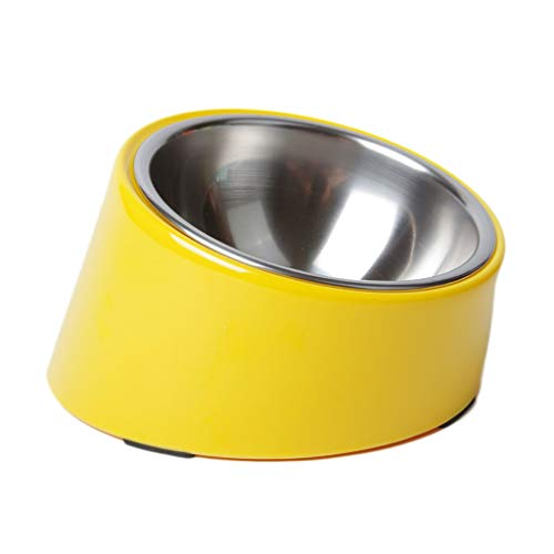 Dogs Bowls Stainless Steel Detachable Food and Water Bowls 15 Degree Slanted Anti-Overflow for Small Medium Large Dogs Cats Pets Bowls Pet Food Tray (Color : Yellow, Size : S) ()