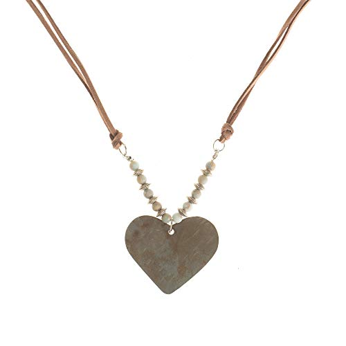 (Rustic Metal Heart Pendant on Light Pink 32 Inch Suede Necklace Car Charm with Aromatherapy Essential Oil Beads)