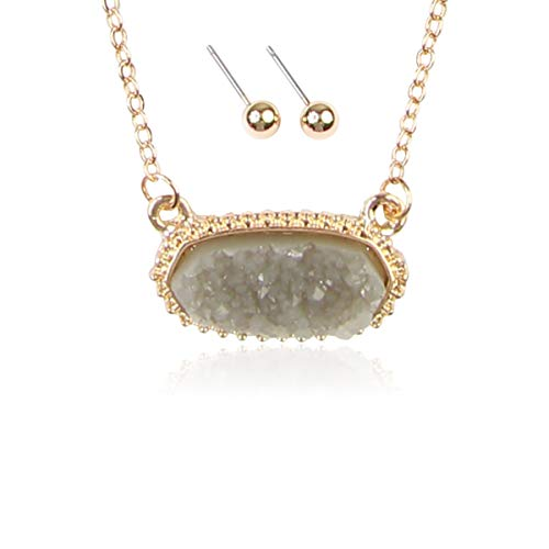(RIAH FASHION Acrylic Faux Druzy Jewel Stone Hexagon Oval Pendant Necklace - Delicate Chain/Sparkly Crystal Beaded Strand (Oval Hexagon Chain - Gray))
