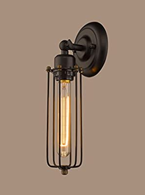 YOBO Lighting Industrial Edison Mini Long Wire Cage Oil Rubbed Bronze Wall Sconce
