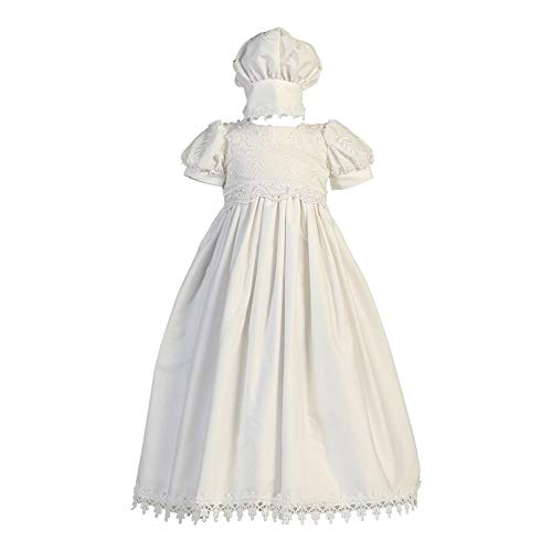 Lito Baby Girls White Embroidered Cotton Gown Bonnet Baptism Set 12-18M