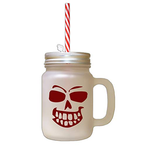 Maroon Pumpkin Face For Halloween Style 5 Frosted Glass Mason Jar With Straw -