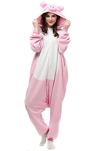 luyao188 Unisex Adult Pink Pig Pyjamas Christmas Costume One Piece Animal Cosplay Onesies X-Large