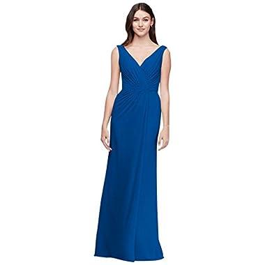 752084c4b6cf David's Bridal Faux-Wrap Pleated Chiffon Bridesmaid Dress Style F19585,  Horizon, ...