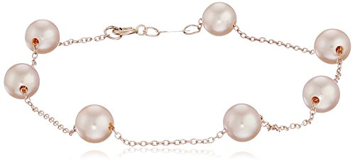 14k Rose Gold 5.5-6mm Pink Cultured Freshwater Pearl Tin Cup Bracelet