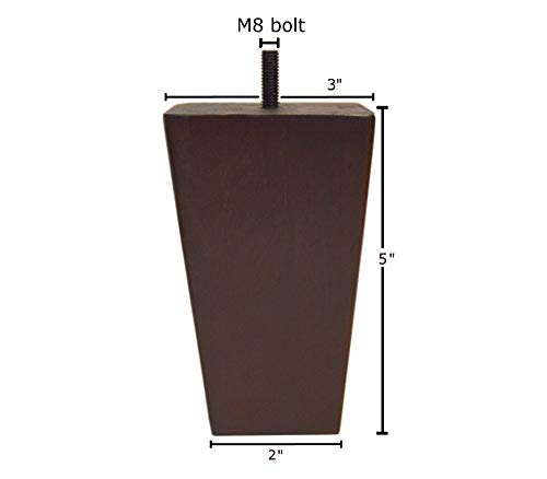 5 Inch Wood Furniture Legs Squared Tapered Finish, Set of 4. Great Sofa Legs with Mid-Century Modern Style, IKEA Conversion Kit Also Suitable for Coffee Table and Bed Legs.