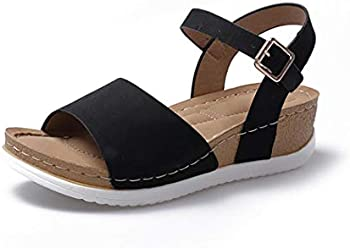 Dongtu Women's Solid Print Buckle Strap Open Toe Wedge Sandal