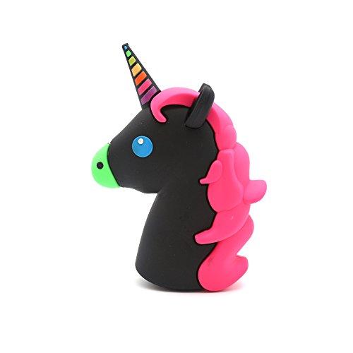 DBigness 2600mAh Black Unicorn Cute Funny Lovely Gift Cartoon PVC External Battery Portable Charger Backup Pack Power Bank for Smart Phone