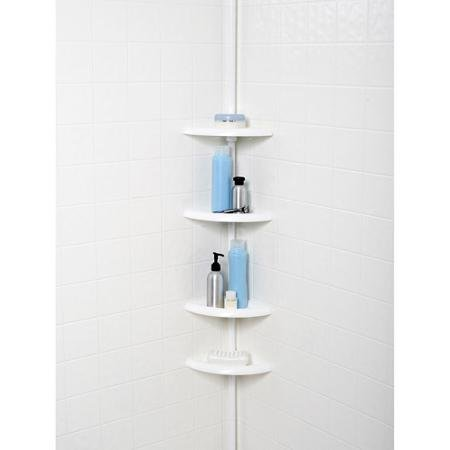 (Self-draining 4-Tier Tub and Shower Tension Pole Caddy, White)