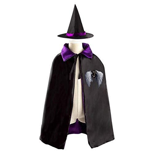 69PF-1 Halloween Cape Matching Witch Hat Deathscythe Hell Wizard Cloak Masquerade Cosplay Custume Robe Kids/Boy/Girl Gift -