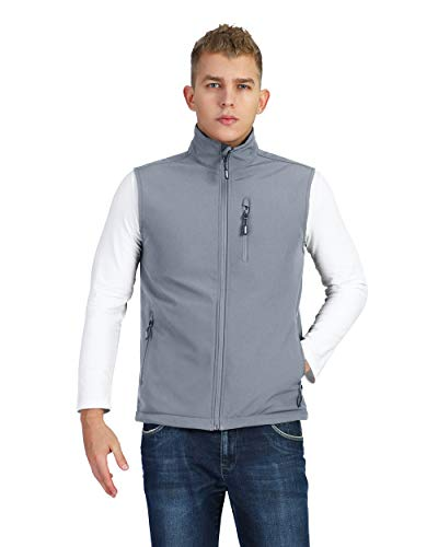 Outdoor Ventures Men's Lightweight Softshell Vest Jacket, Fleece Lined Full-Zip Windbreaker Golf Travel Vest