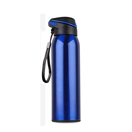YooZoo 17 oz Double Wall Vacuum Insulated Stainless Steel Commuter Water Bottle Flask with Flip Straw Leak Proof - Keeps Hot & Cold,Perfect for Camping Hiking Cycling Fitness, Blue