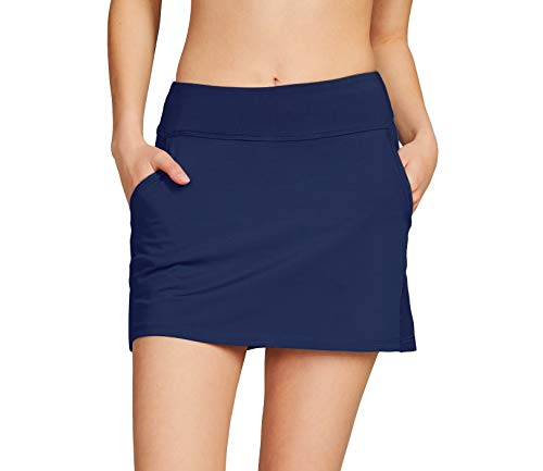 Cityoung Women's Golf Pleated Flat Skort with Pockets XS,Navy