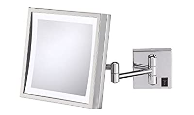 Kimball & Young 91283HW Single Sided LED Square Wall Mirror, Polished Nickel