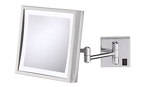 Kimball & Young 91283HW Single Sided LED Square Wall Mirror, Polished Nickel by Kimball & Young