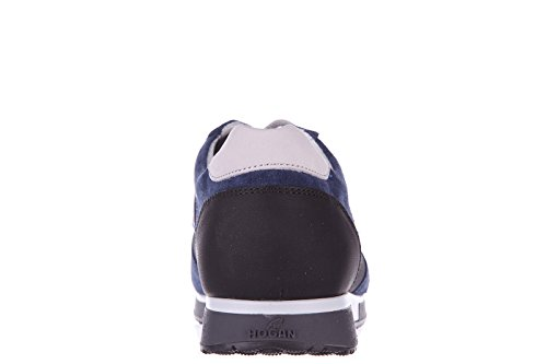 Hogan chaussures baskets sneakers homme en daim h198 slash h flock blu