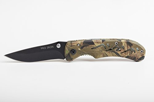 Pro Iron Camo Survival Folding Pocket Knife Black Coated Stainless Steel (3r13) Tactical Knife with Belt Clip Liner Lock for Camping Hunting Fishing and All Other Outdoor Activities - Locks Other