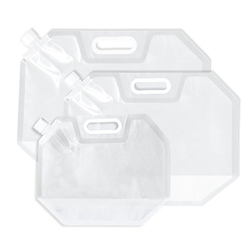 Juvale Collapsible Water Container - 3-Pack Foldable Plastic Water Bag Carrier, BPA Free, Portable Water Storage Tank for Camping, Outdoor, Hiking, Travelling - Clear - 0.7, 1.3, 2.1 ()