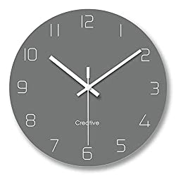 FlorLife Kitchen Modern Wall Clock with Numbers, Huge Round Wall Decorative Clock, Silent Non-Ticking Digital Haning Glass Clock for Living Room/Bedroom/Bathroom - Grey