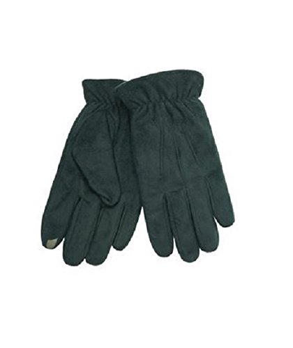 Isotoner Mens SmarTouch Faux Suede Lined Winter Gloves Bl...