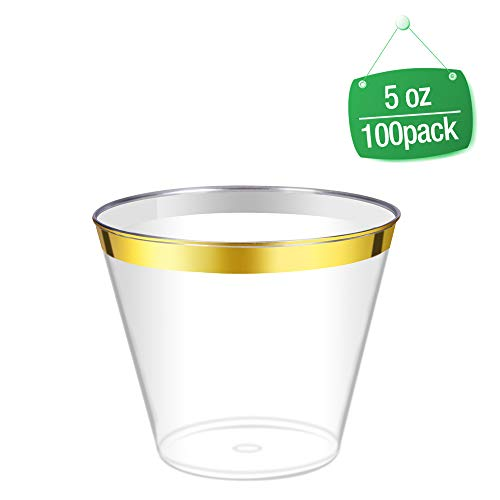 (5oz Gold Rimmed Clear Cups/ 100 Count Clear Disposable Plastic Cups/Old Fashioned Tumblers/Elegant Disposable Wedding Cups/Fancy Plastic Party)