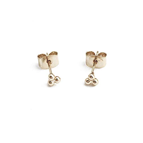 HONEYCAT Tiny Trinity Ball Stud Earrings in 24k Gold Plated   Minimalist, Delicate Jewelry (G)