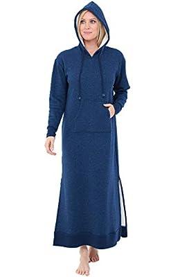 Alexander Del Rossa Womens Full Length Fleece Kaftan, Pullover Nightgown with Pockets