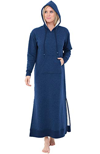 Alexander Del Rossa Womens Full Length Fleece Kaftan, Pullover Nightgown with Pockets, Medium Navy Blue with Hood (A0266NBLMD)