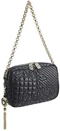 2b1838d11ad1 Gianni Versace Vanitas Collections Black Lambskin Quilted Shoulder Bag    Removable Medusa Charm Pendant