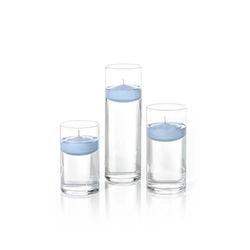 Yummi Set of 18 Floating Candles and Cylinder Vases - Periwinkle Blue]()