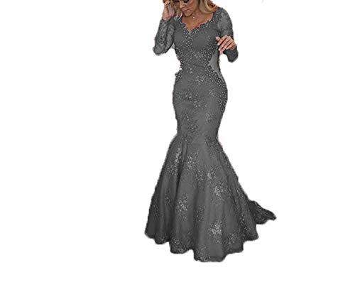- Sound of blossoming V Neck Beaded Mermaid Prom Dress Lace Illusion Long Sleeves Evening Formal Gowns SOB310