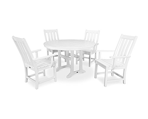 Polywood Traditional Deck - POLYWOOD Vineyard 5-Piece Nautical Trestle Dining Set (White)