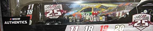 NASCAR 25 Years Joe Gibbs Racing Hauler Kyle Busch #18 Denny Hamlin #11 Matt Kenseth #20 Edwards #19 Hauler Trailer Tractor Semi Rig Transporter Truck 1/64 Scale Authentics Metal Cab, Plastic Trailer
