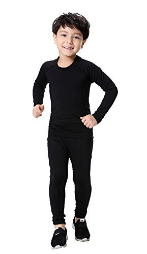 LANBAOSI Boys & Girls Long Sleeve Compression Shirts and Pant 2 Pcs Set, Black2, 14, 30/160