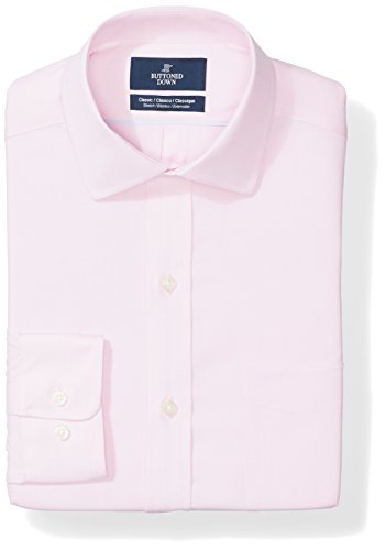 BUTTONED DOWN Men's Classic Fit Stretch Poplin Non-Iron Dress Shirt, Pink, 20