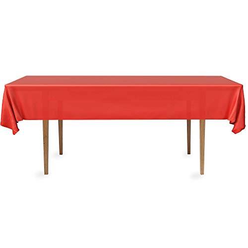 DecorRack 4 Rectangular Tablecloth -BPA- Free Plastic, 54 x 108 inch, Dining Table Cover Cloth Rectangle for Parties, Picnic, Camping and Outdoor, Disposable or Reusable in Red (4 Pack)