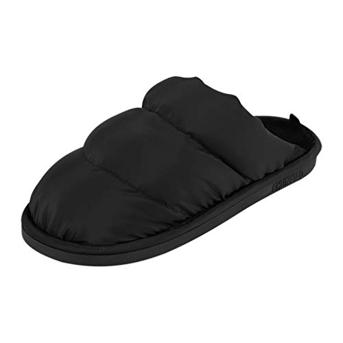 Fakeface Mens Womens Home Indoor Slippers Shoes Soft Warm Cozy Quilted Down Slippers Mules Comfort Antiskid Slip-On Scuff Winter Footwear Lightweight Waterproof House Indoor Slippers Black