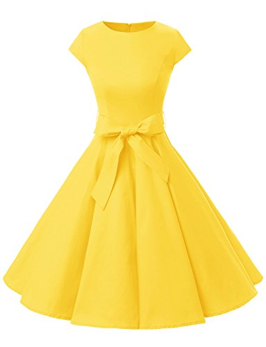Dressystar DS1956 Women Vintage 1950s Retro Rockabilly Prom Dresses Cap-Sleeve M Yellow