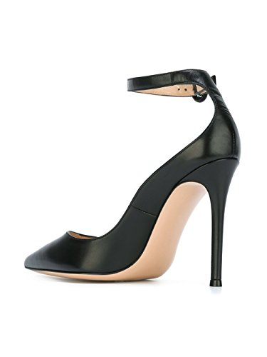 Soireelady Womens Buckled Ankle Strap High Stiletto Heel Pointed Toe Court Shoes Black oSd9Ef