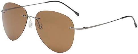 JKNK Pilot Rimless Titanium Polarized Sunglasses Men Vintage Ultralight Designer Metal Photochromic Sun Glasses For Women, C15, Case A